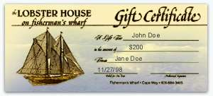 Lobster House Cape May NJ Gift Certificate